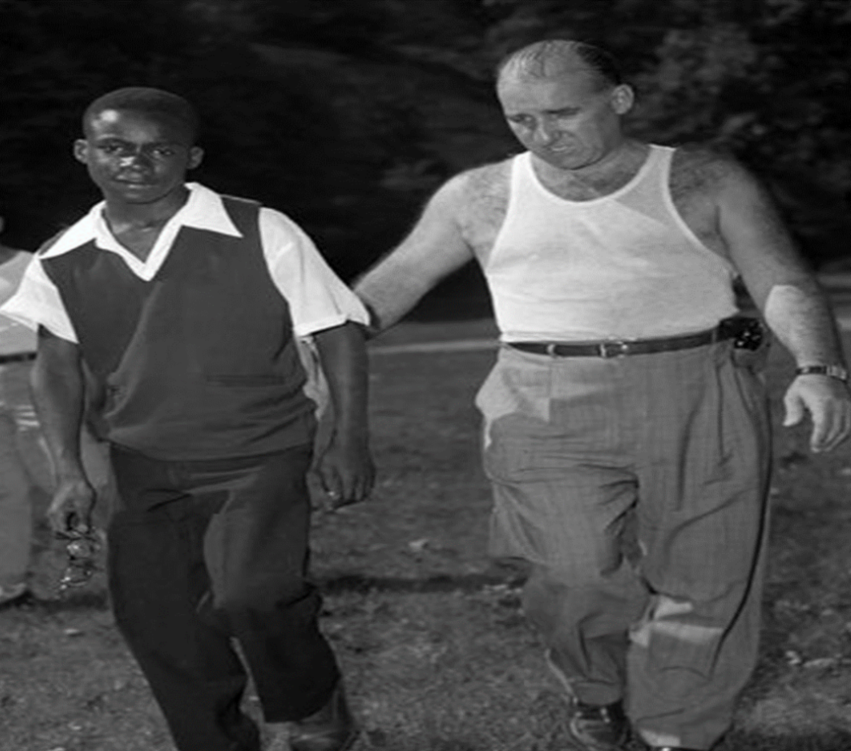 Robert Peebles searching Highbridge Park with Detective Francis McGinty for the gun. This is probably the area behind Highbridge Pool a mile north of the Polo Grounds.