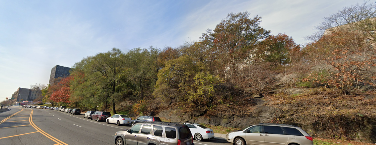 The NYPD searched this wooded area of Highbridge Park which ran between Edgecombe and Harlem River Drive. The unspent bullet was found at the top of the hill.