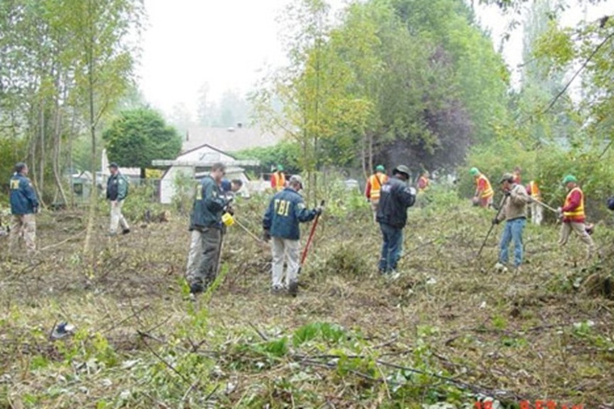 FBI investigators search McCleary where Lindsey Baum went missing June 26, 2009 in Washington. Photo courtesy of the FBI.