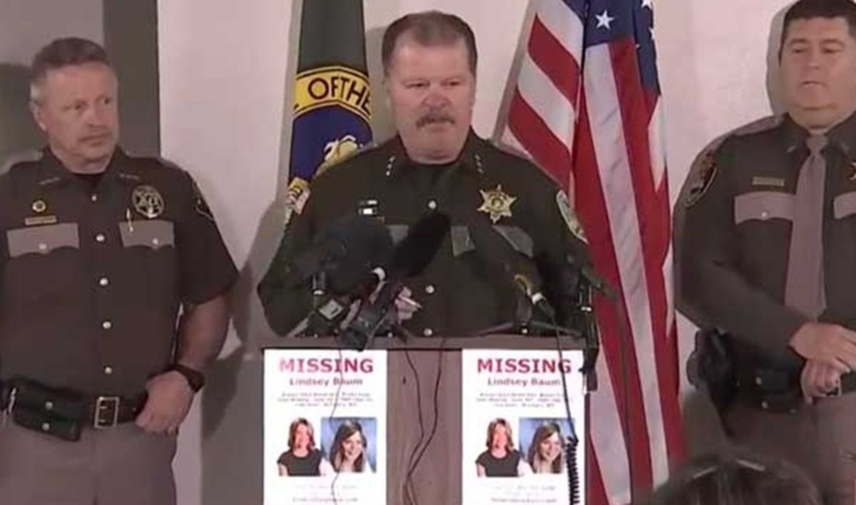 Sheriff Rick Scott at press conference announcing Lindsey Baum's remains were identified through DNA analysis. Photo courtesy of Grays Harbor Sheriff's Office.