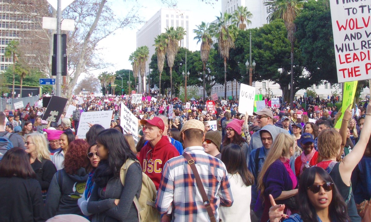 The first Women's March in January, 2017. Taken in Los Angeles, where 750,000 women and men of all ages and colors showed up to declare their intention to protect the rights of women.