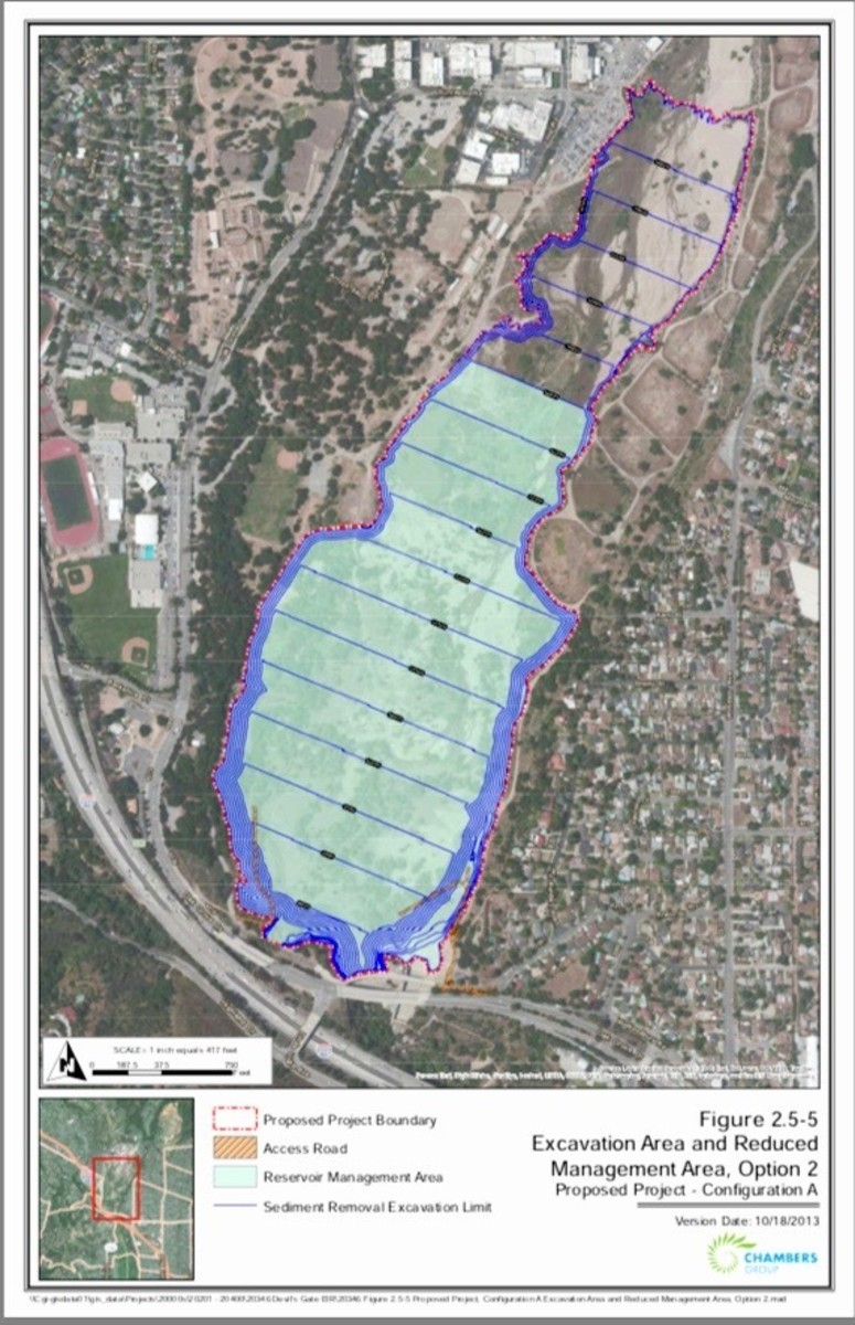 """This shows how much the """"Big Dig"""" was reduced, due to public protest. Flood Control will be replacing the outlined greyed area with native plantings, along with building wildlife corridors and fish streams along the sides of the dig (light green)."""
