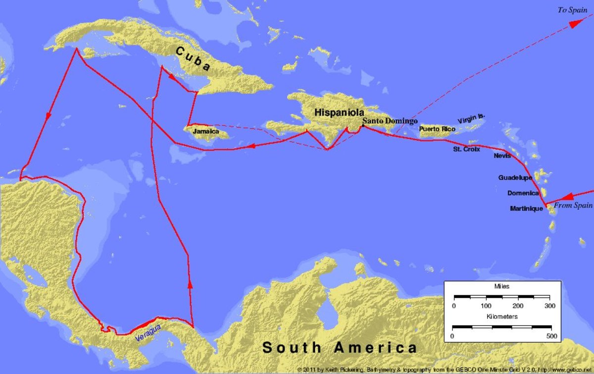 Map of the fourth and final voyage of Christopher Columbus, 1502-1504.