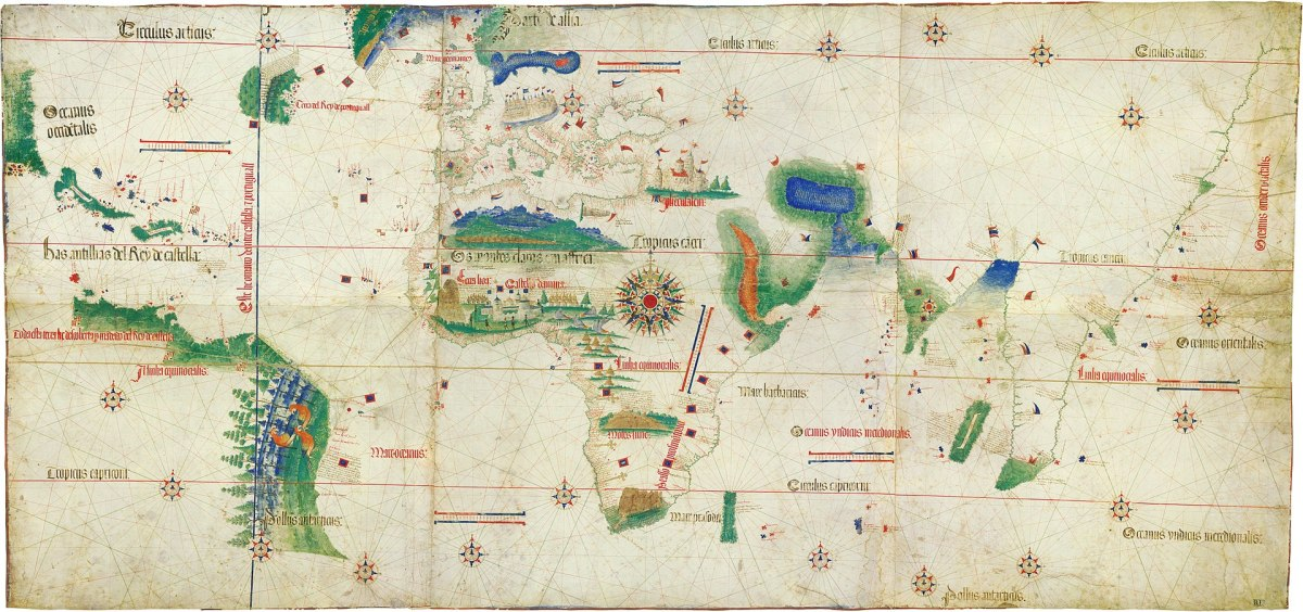 The Cantino World Map of 1502, the earliest surviving map of Portuguese and Columbus's discoveries. The West Indies and the coast of Brazil on the left of the map.