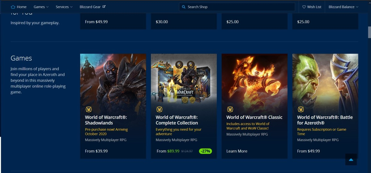 "All ""World of Warcraft"" game packages are for sale in the online shop!"