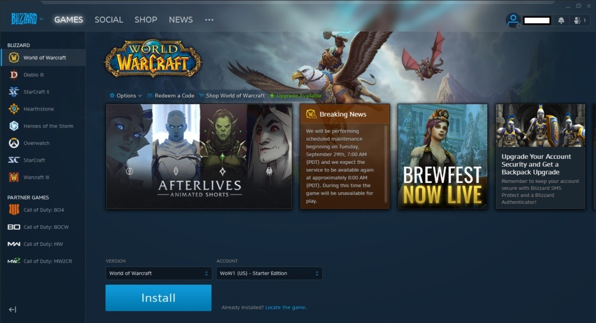 The Battle.net launcher makes it easy to install and update World of Warcraft.