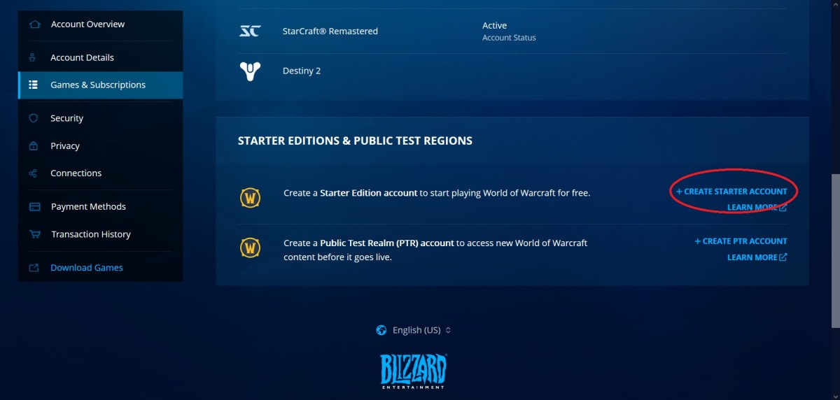 Create a Starter Edition account in Battle.net to play Starter Edition.