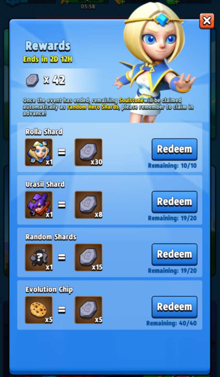 Click the rewards button to view the current shop