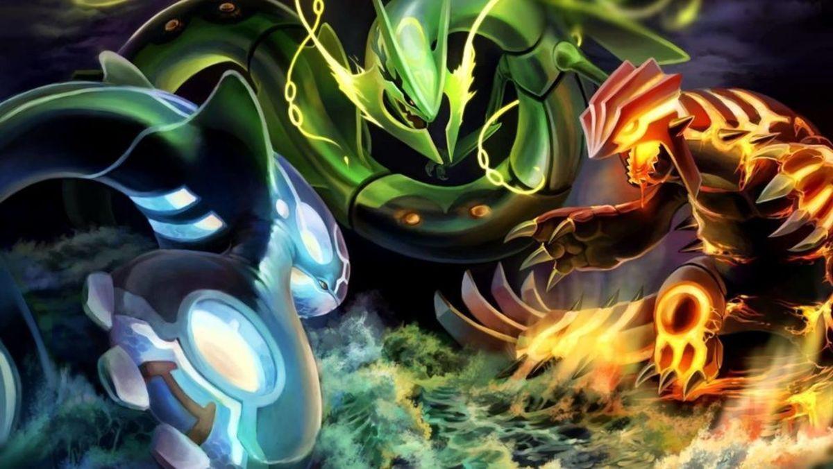 Primal Kyogre, Mega Rayquaza, and Primal Groudon