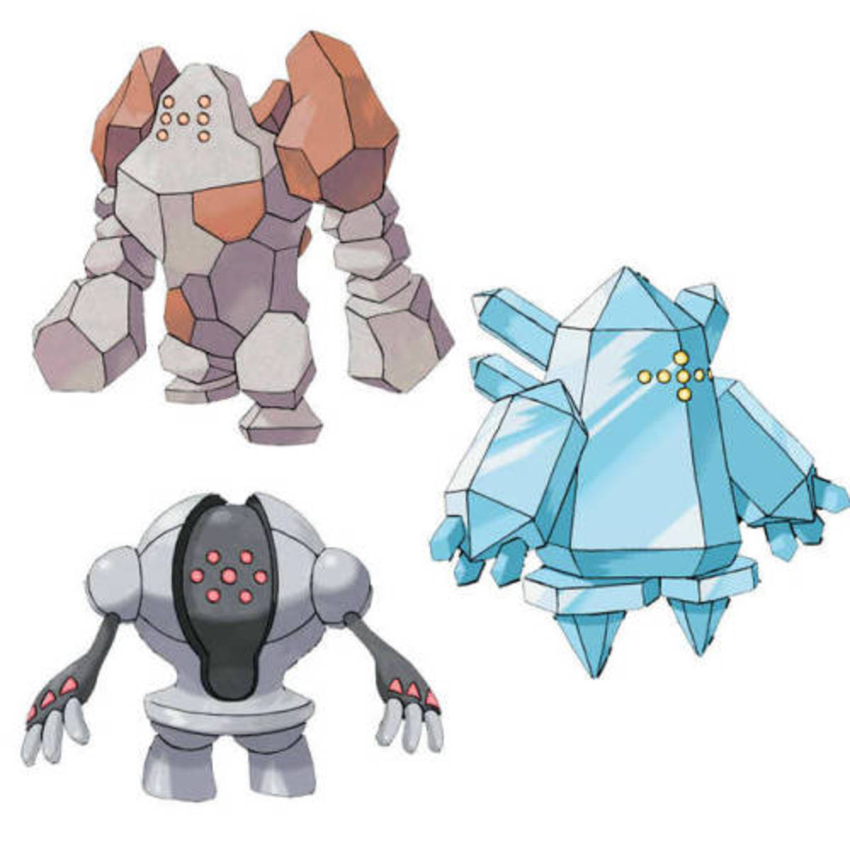 Regirock, Regice, and Registeel