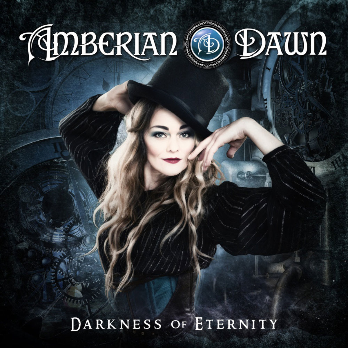 In the center of the album cover for Darkness of Eternity is Capri Virkkunen who looks like a very beautiful magician.