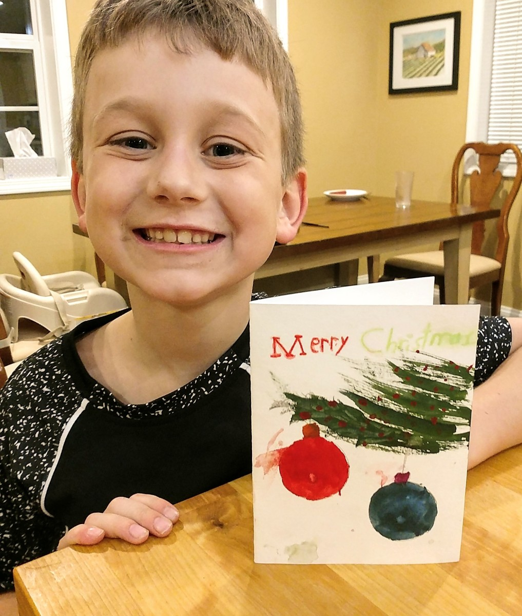 Get out the watercolor paints and make Christmas cards together.