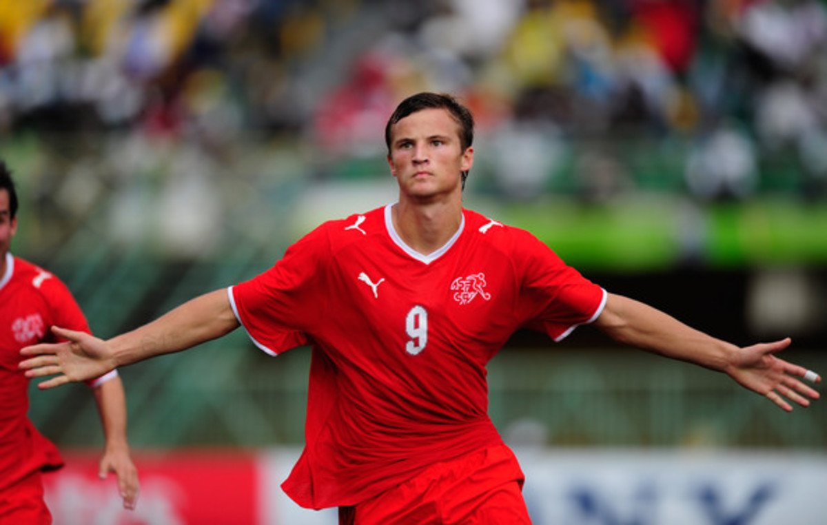 Haris Seferovic celebrates scoring a goal against Japan in the 2009 FIFA U-17 World Cup. Seferovic, of Bosnian descent, went on to finish as joint top goal scorer as he would go on to represent Switzerland in the 2014 World Cup.
