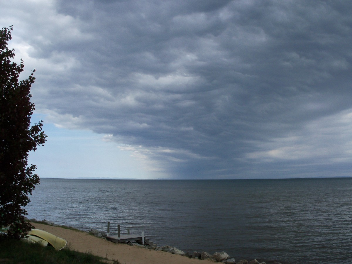 Clouds gather over Lake Superior, Paradise, Michigan