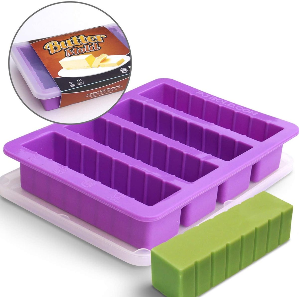 This silicone butter stick mold is my favorite.    The graduated marks on the sticks makes it easy to correctly measure in my recipes.  The sticks drop out easily.  This one also comes with a silicone lid for storage.
