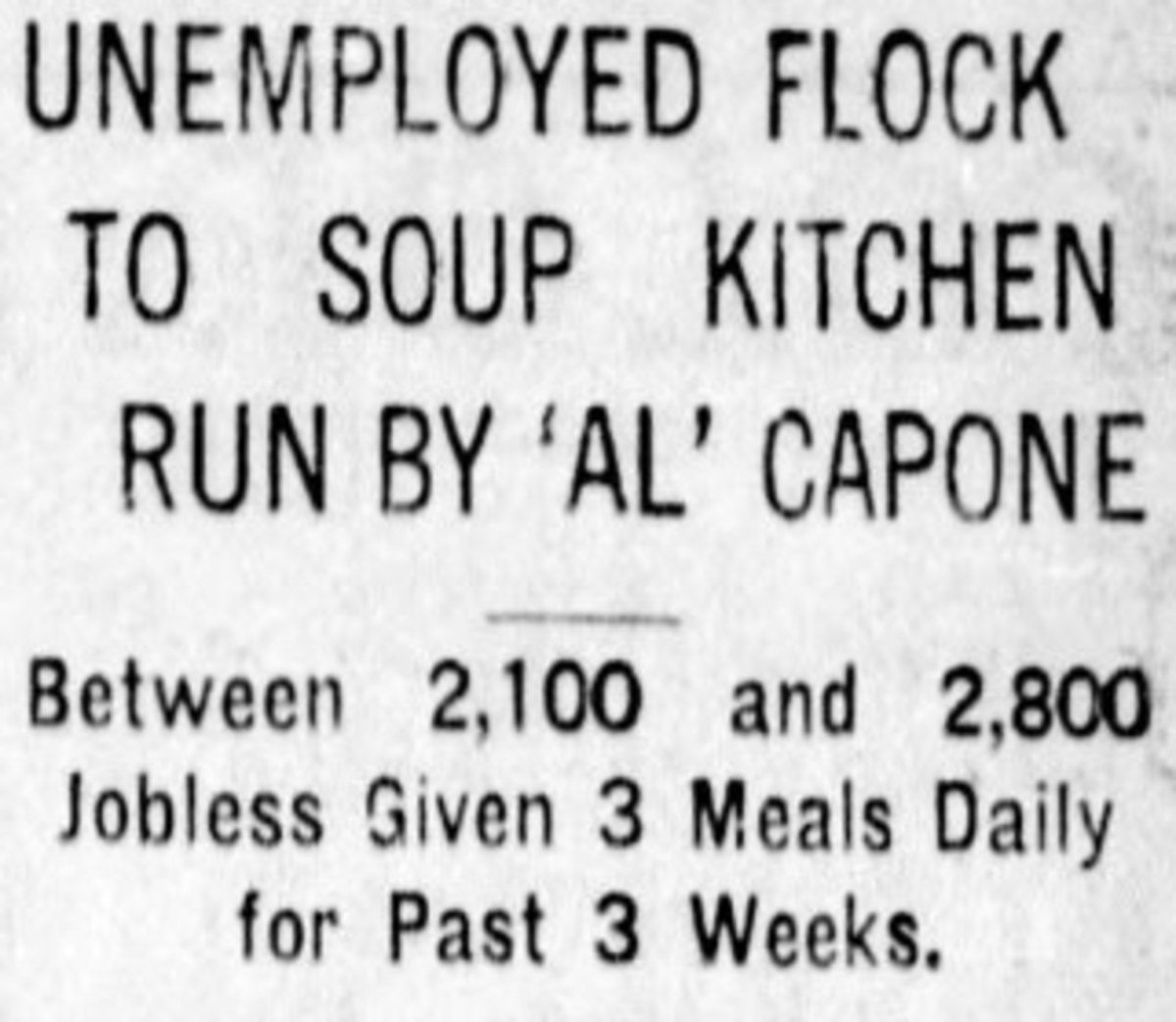 Newspaper Clipping About Capone's Soup Kitchen