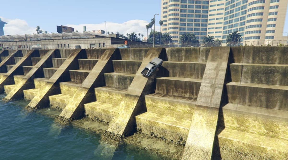 While in Hover Mode you can drive up this ramped sea wall, near the Airport, to get to the plane faster.