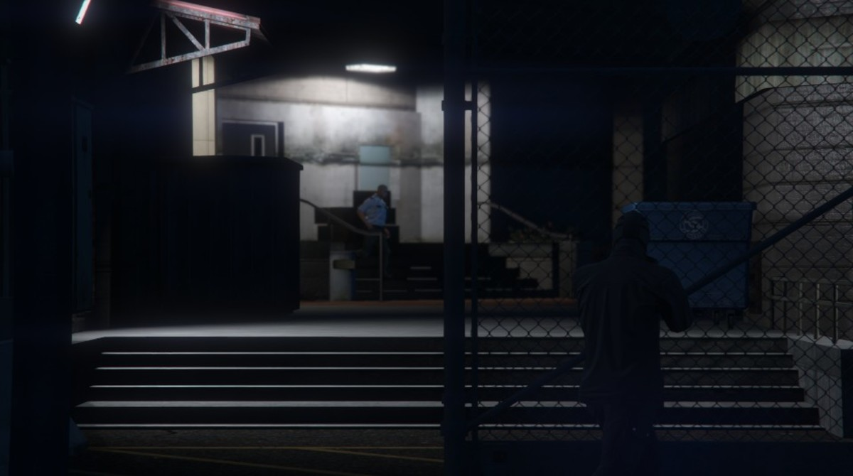 As you make your way to the elevator (in the center of the complex) take out this guard as he walks out from his position.