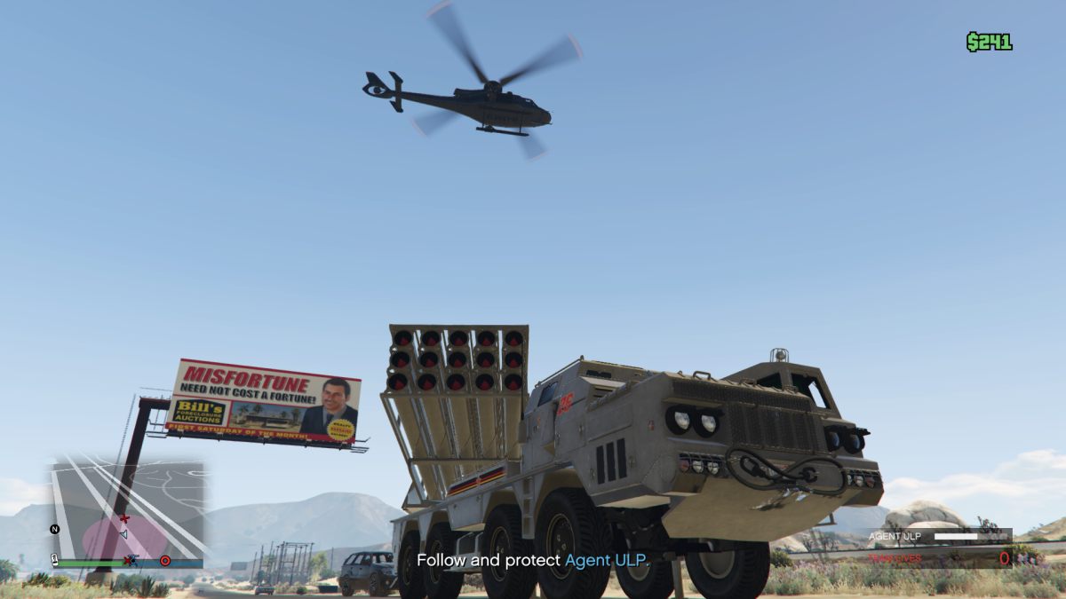 As you're escorting ULP there's going to be times like this where an enemy chopper is just out of your reach. This is easily fixed (if you're the driver) by just changing position slightly for the shooter to have a better shot.