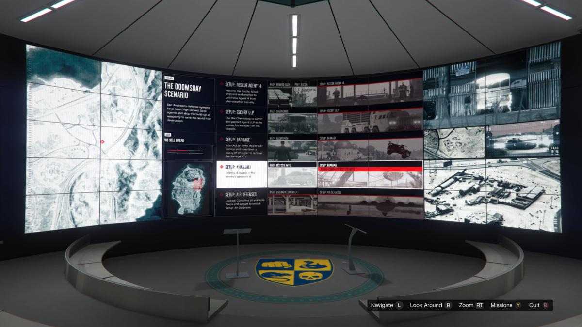 Overview screens for Khanjali.