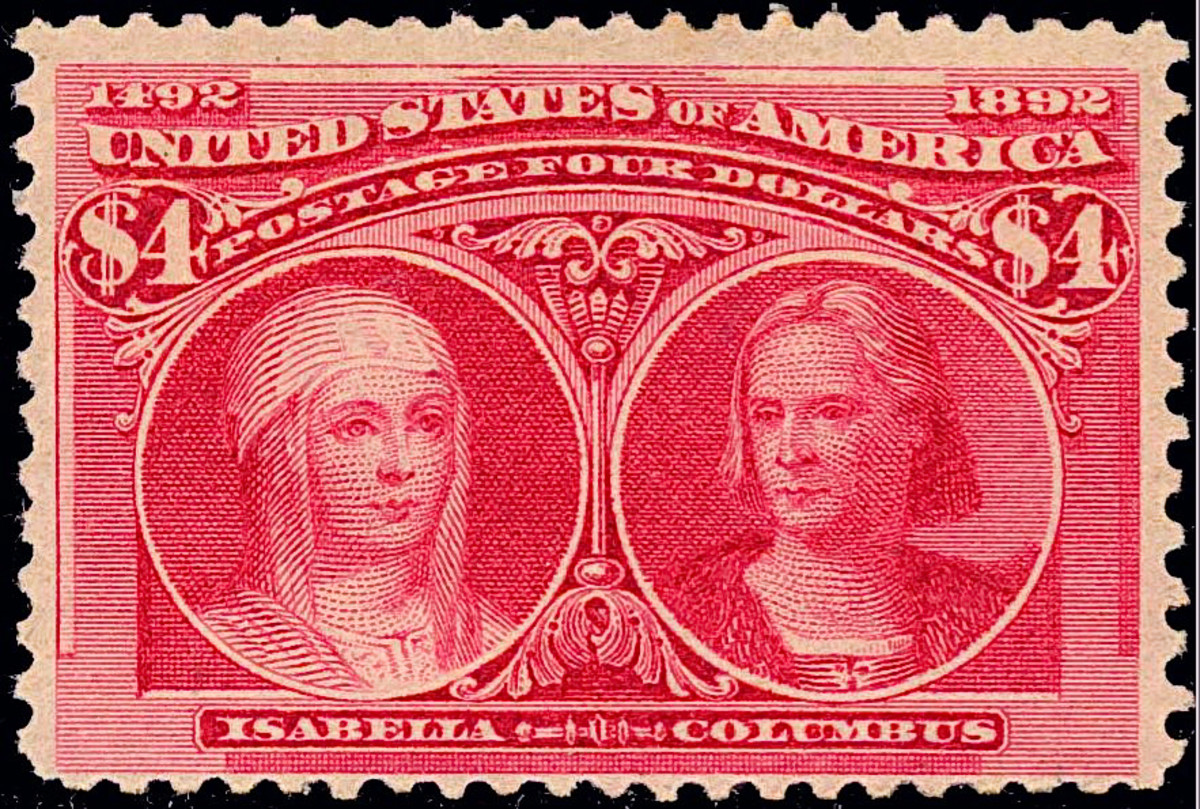 Queen Isabella and Columbus $4 U.S. postage stamp.