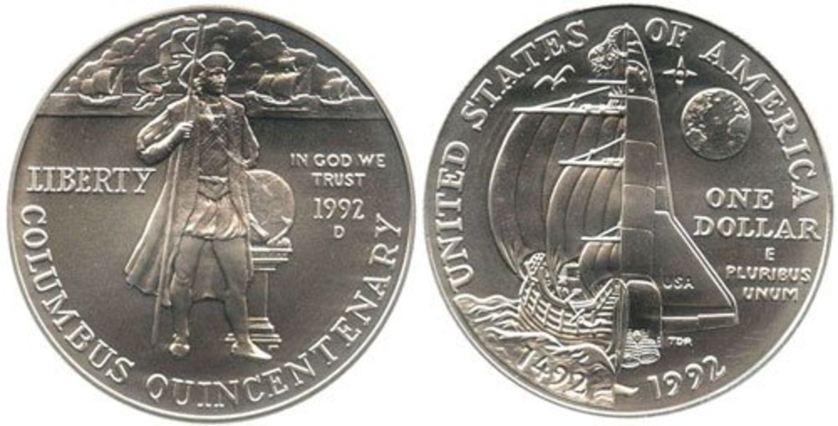 1992-D Christopher Columbus Quincentenary U.S. silver dollar coin.