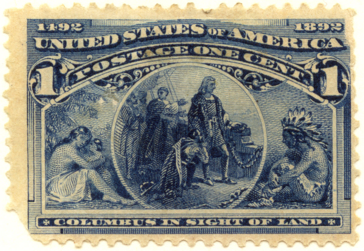 1893 Columbus in Sight of Land 1 Cent U.S. postage stamp.