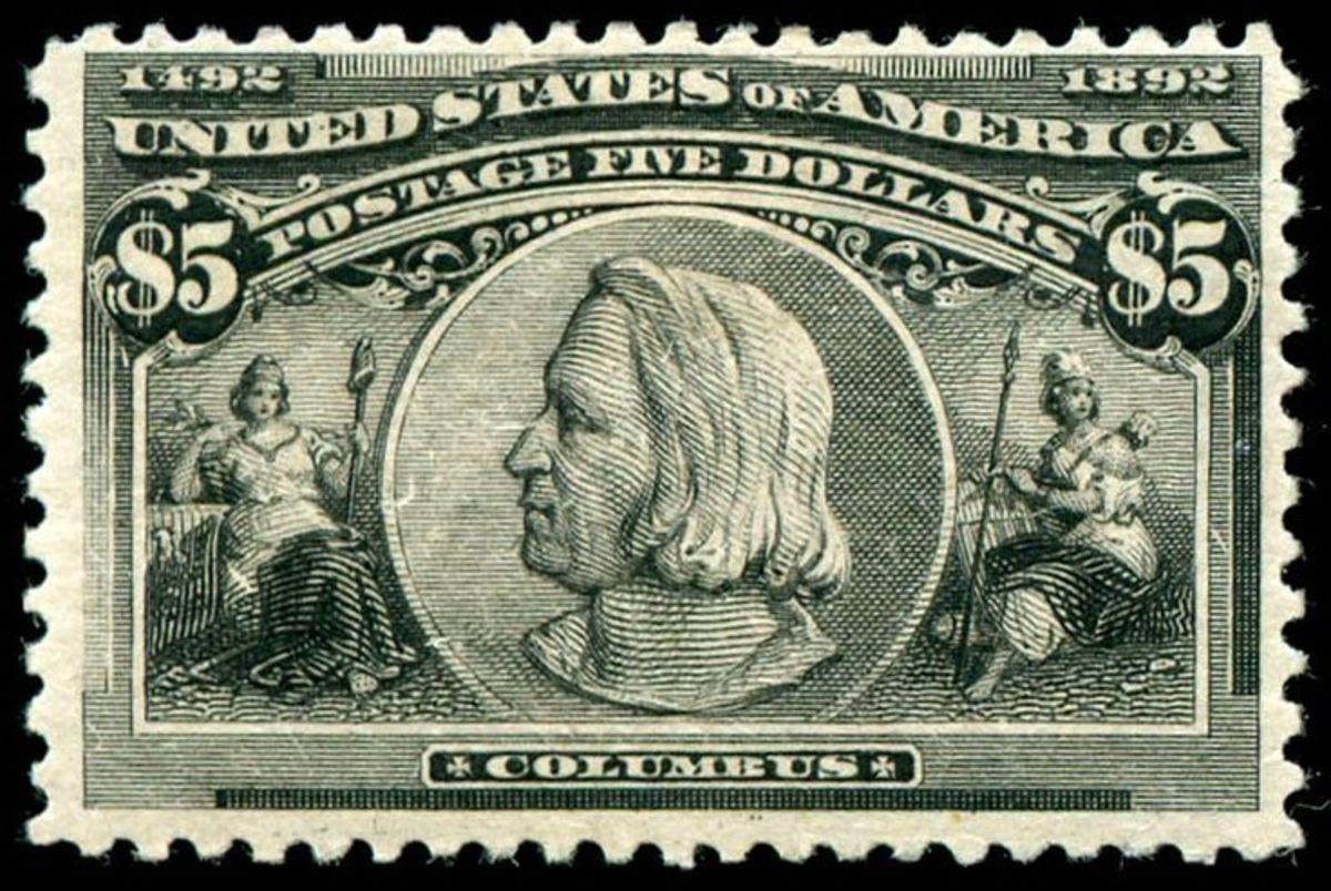 1893 Columbus $5 U.S. postage stamp.