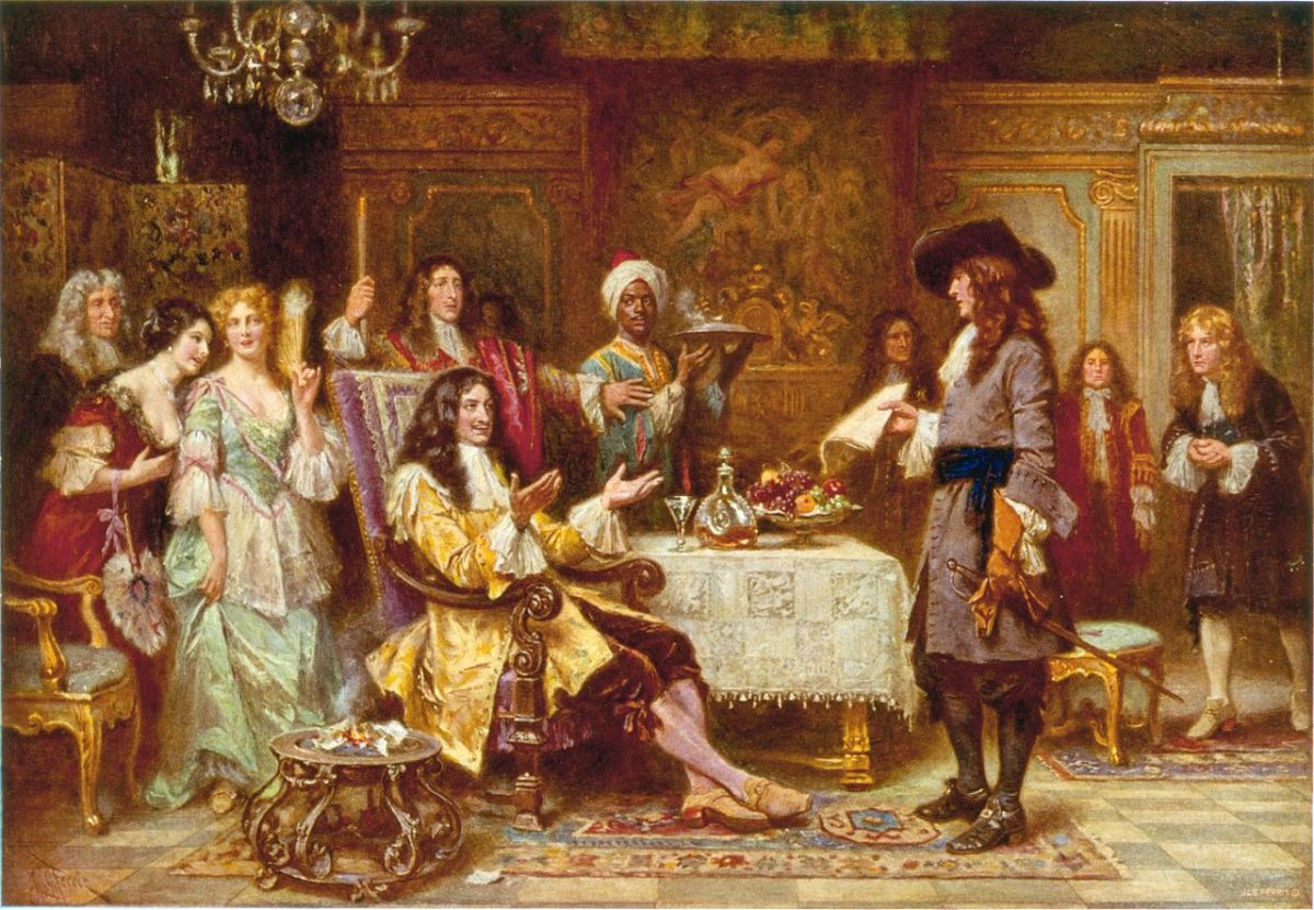 """Painting """"The Birth of Pennsylvania"""", 1680, by Jean Ferris. The painting depicts William Penn, holding paper, standing and facing King Charles II, in the King's breakfast chamber at Whitehall."""