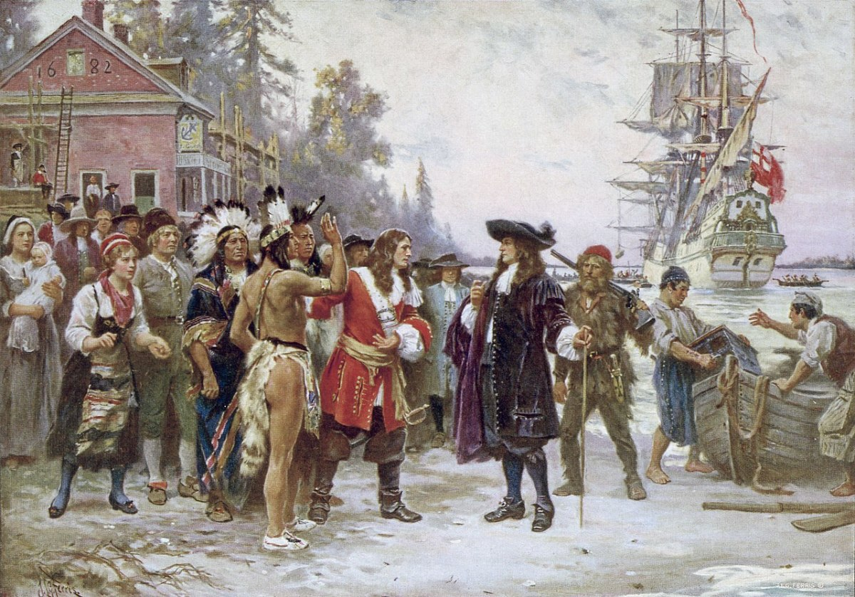A painting which depicts William Penn, in 1682, standing on shore greeted by a large group of men and women, including Native Americans.