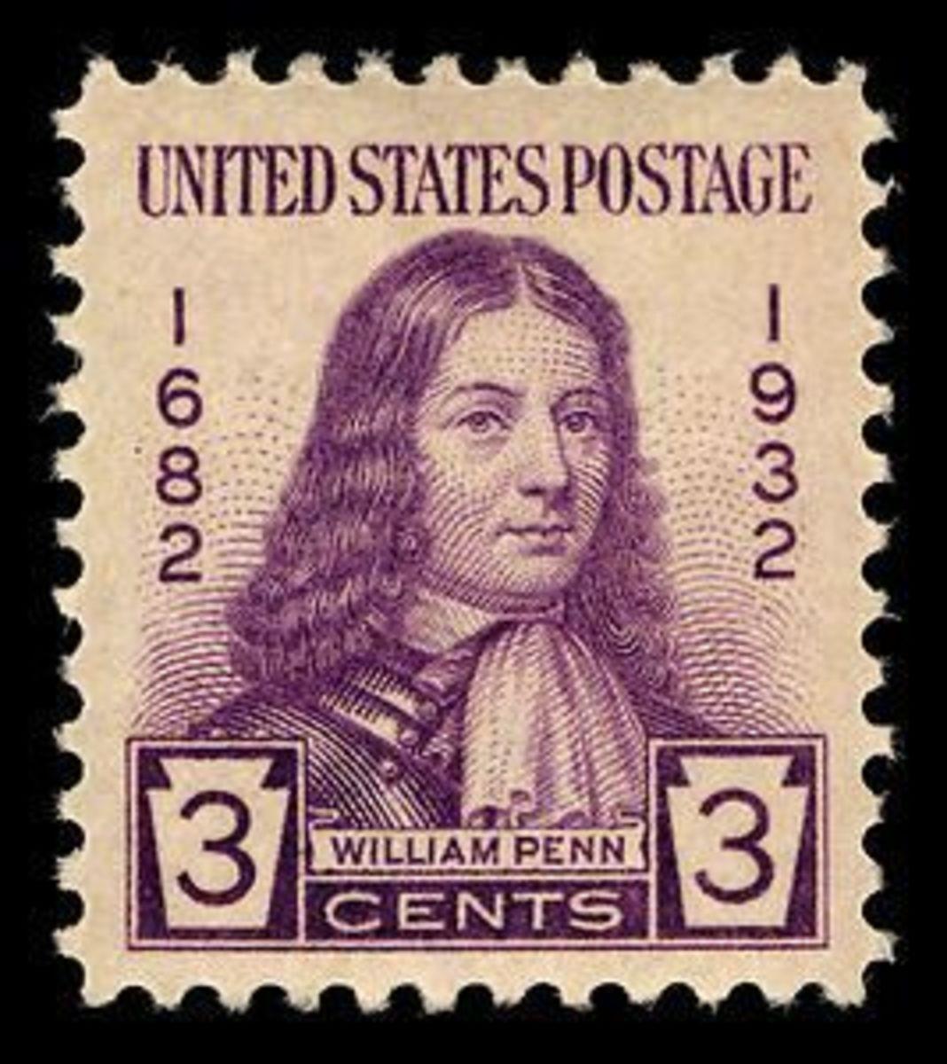 1932 Three Cent U.S. Postage stamp commemorating William Penn.