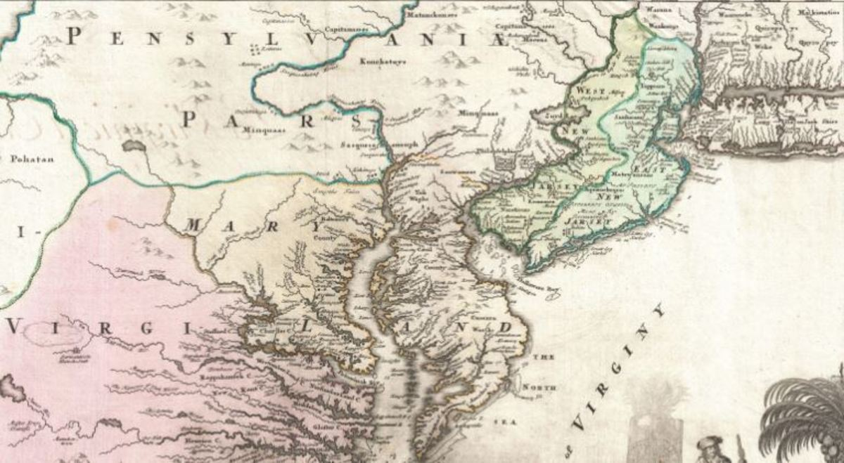 Map of East Jersey, West Jersey, Maryland, and Pennsylvania, circa 1715.