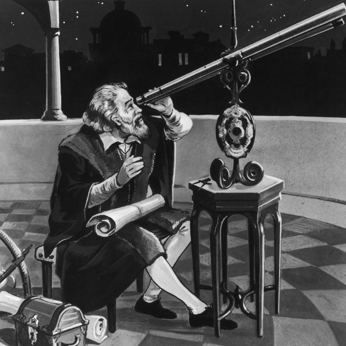 Galileo at his telescope.
