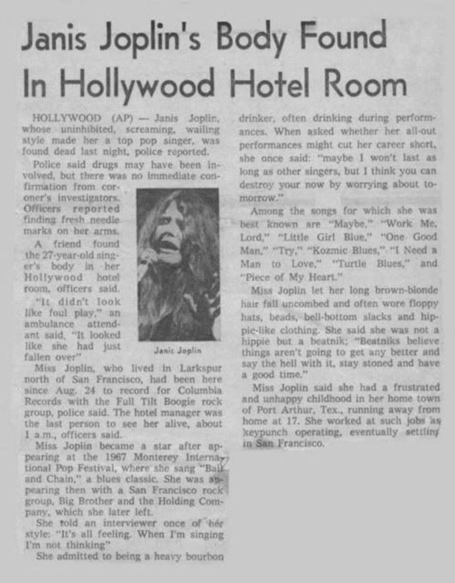 Newspaper article about death of Janis Joplin