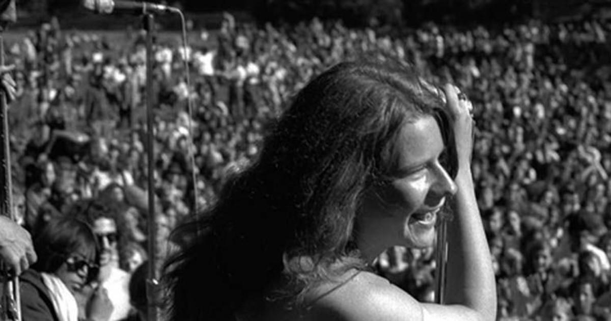 Janis Joplin performing during Woodstock