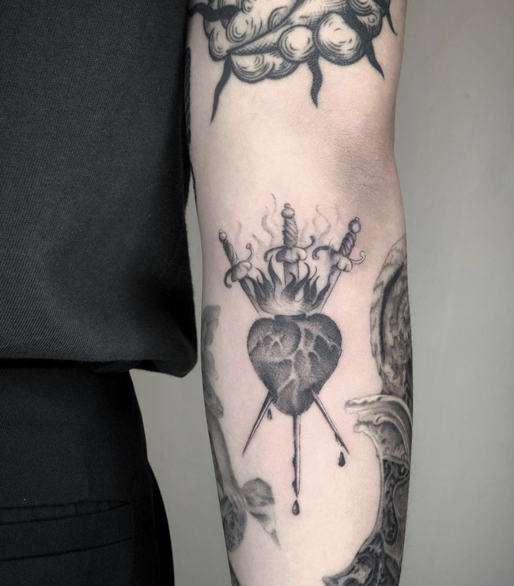 Three of Swords tattoo by @soulass in Taipei,Taiwan.