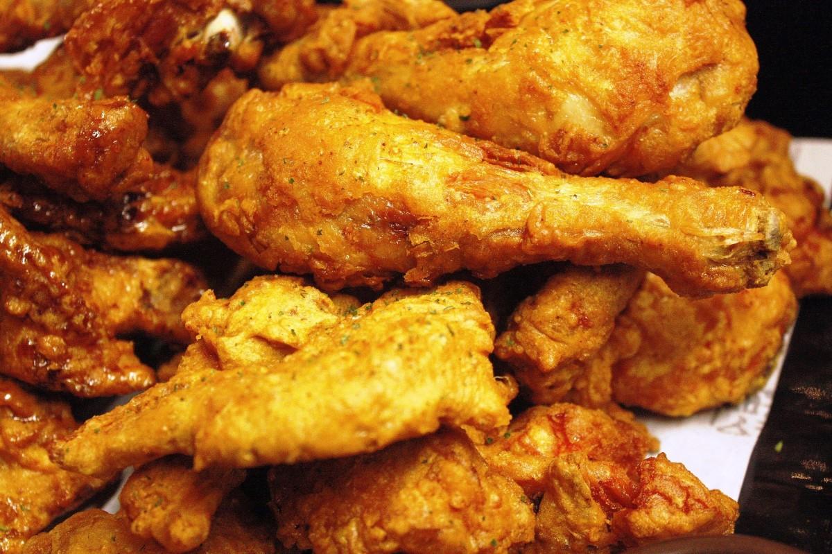 Plate of crispy fried chicken