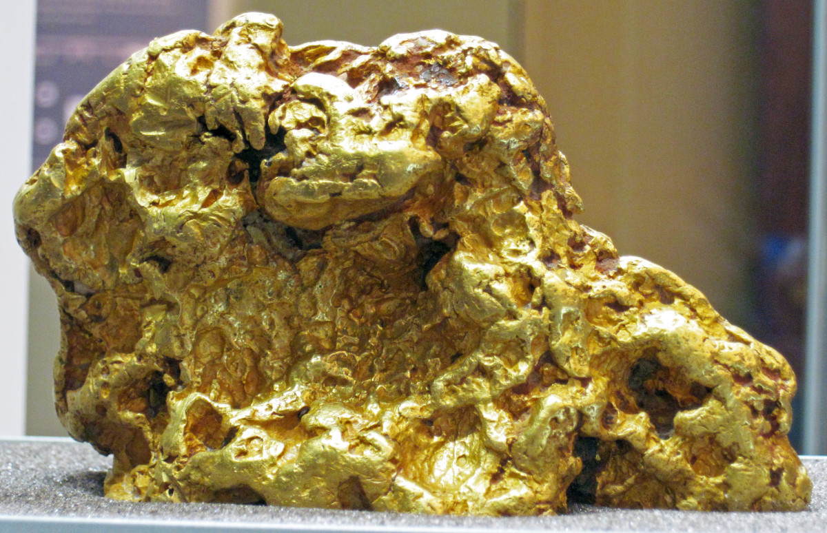 Native gold found in pure form. This nugget was found in Australia. Gold nugget from Australia (public display, Field Museum of Natural History, Chicago, Illinois, USA) A mineral is a naturally-occurring, solid, inorganic, crystalline substance.