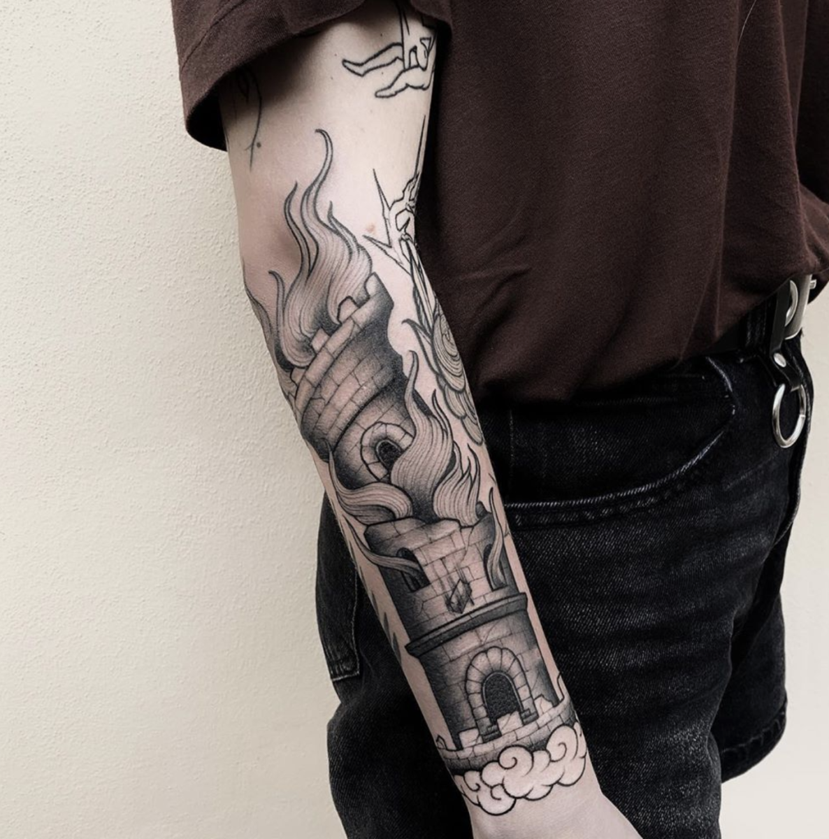 Tower tattoo by @ste.bonura