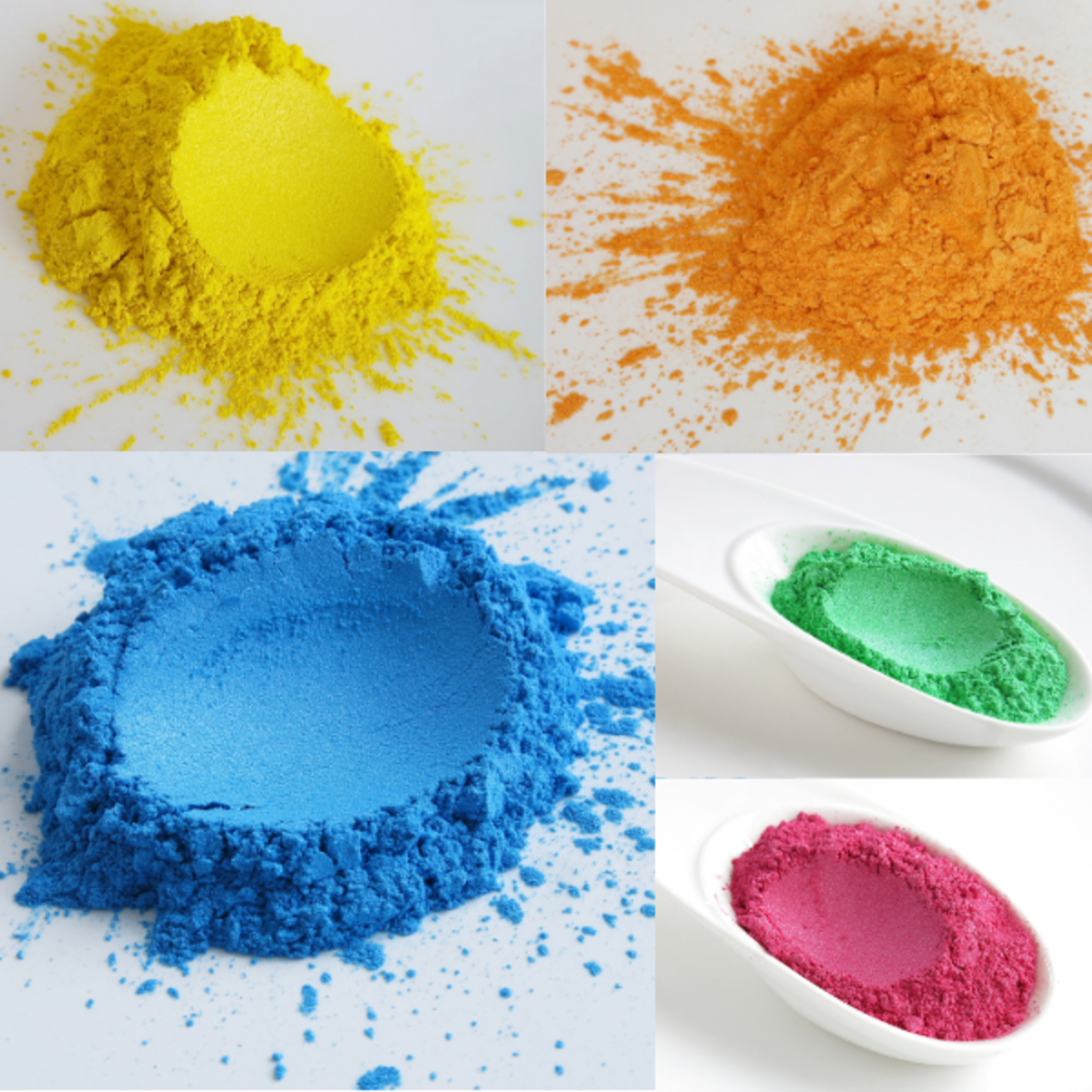 Mica powder comes in a variety of colors.