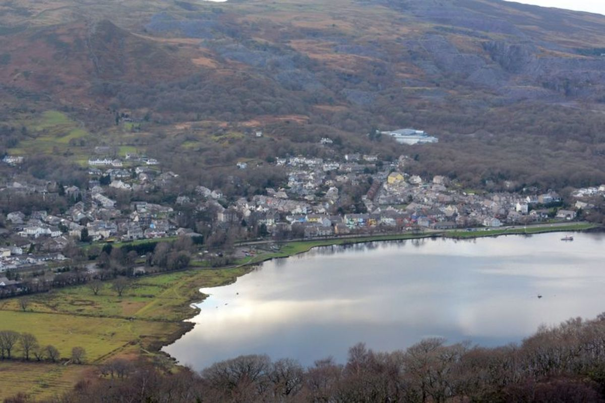 Llanberis by Llyn Padarn, Dinorwic Quarry in the background.