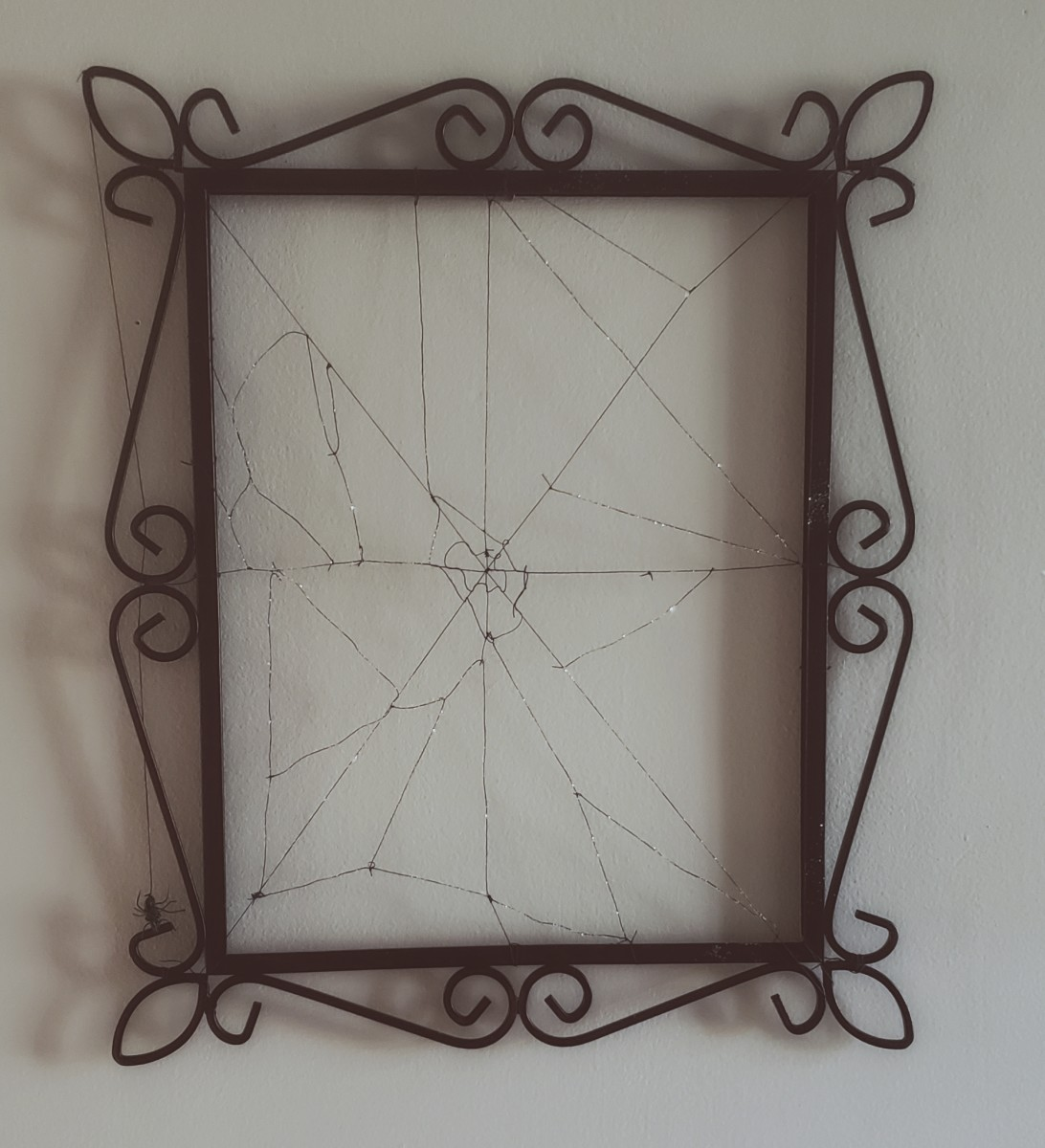 This is what my completed spider-web picture frame looks like.