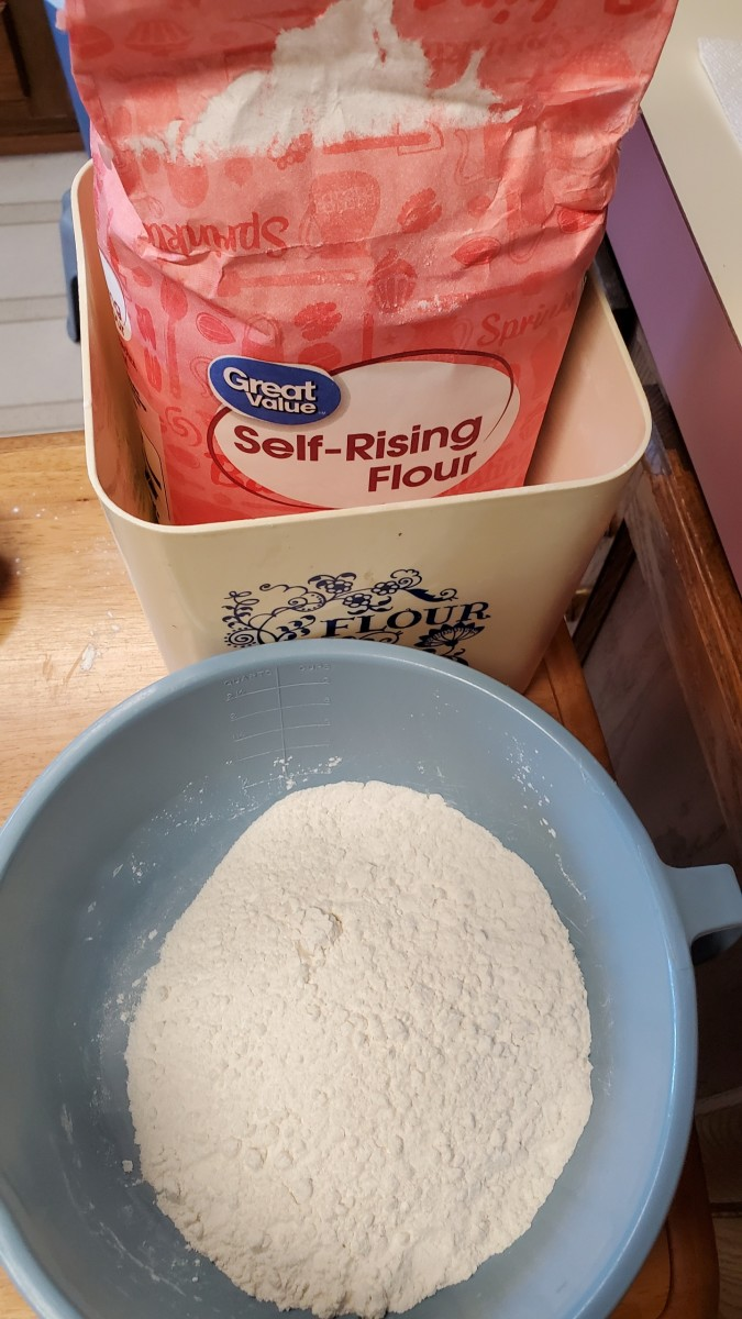Add self-rising flour to the mixing bowl.