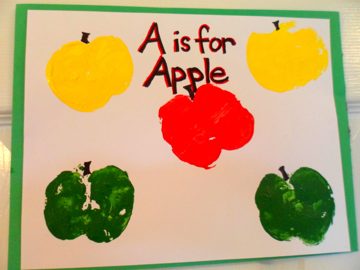 Our finished piece of apple stamp art.