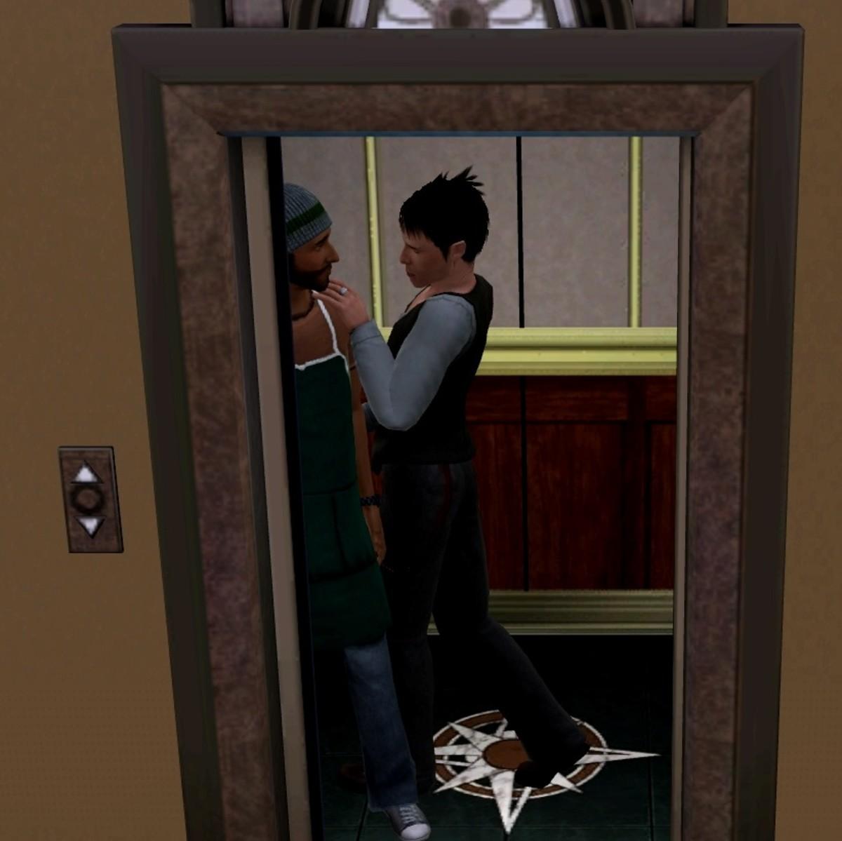 "Elevator WooHoo in ""The Sims 3."""