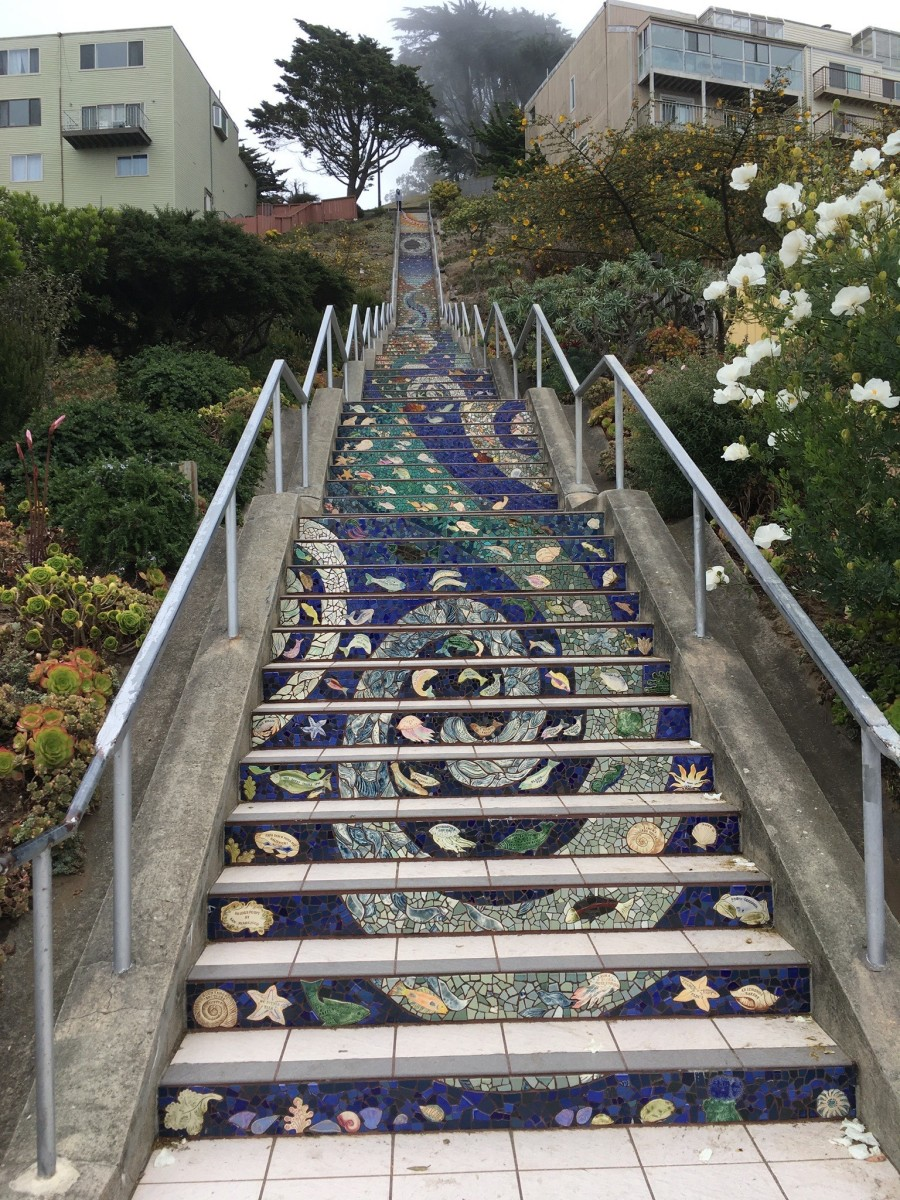 All 163 beautiful Moraga Steps as seen from the bottom.