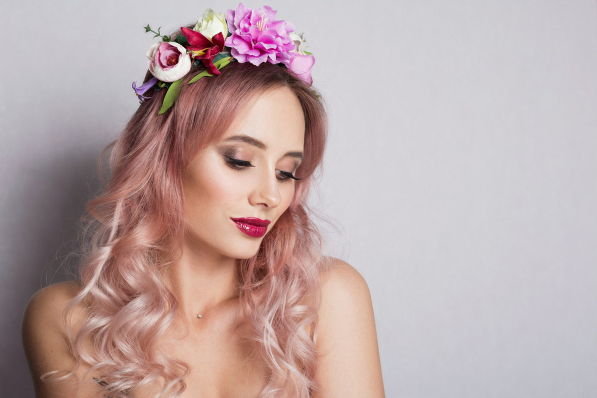 Pastel rose-gold hair