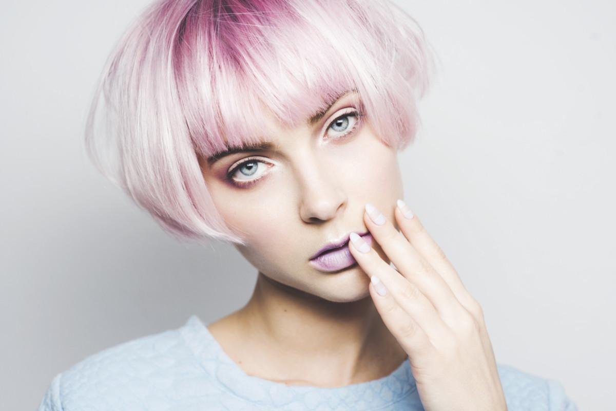 Pastel violet hair.