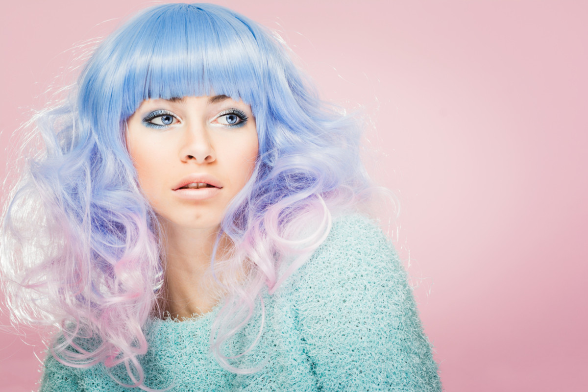 Blue and lilac cotton candy hair.