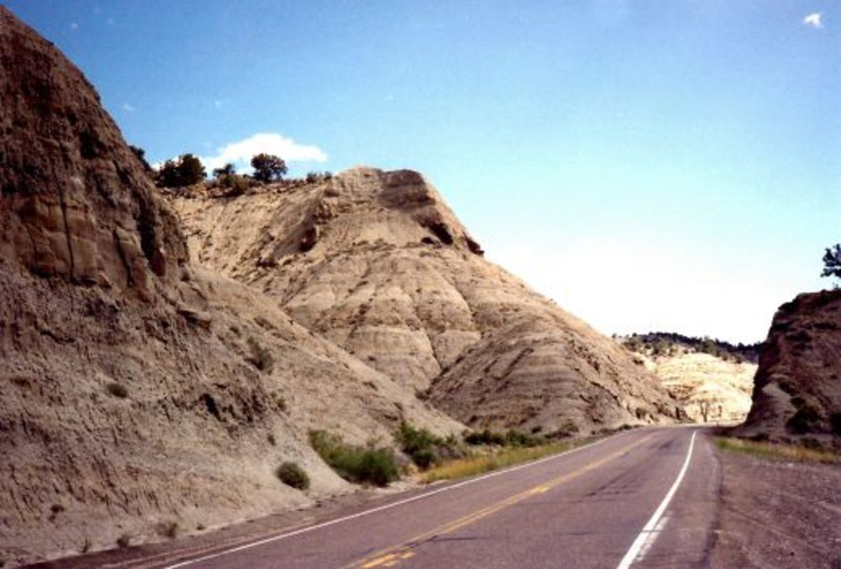 Road going through petrified sand dunes on our way to see Escalante Petrified Forest State Park.